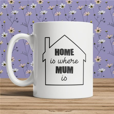 Cană personalizată cu text pentru mama - Home is where mum is
