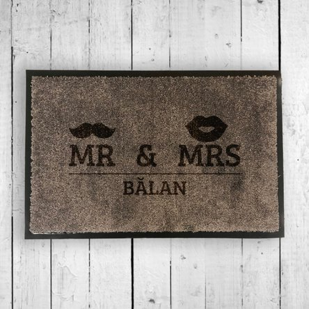 Covoraș intrare de interior personalizat - Mr & Mrs