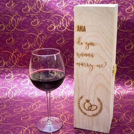 Cutie de vin personalizată - Do you wanna marry me?