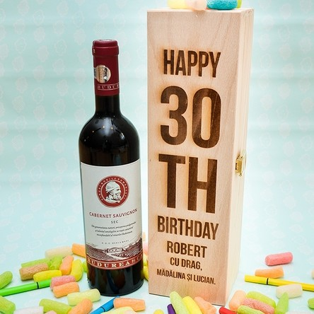 Cutie de vin personalizată - HAPPY BIRTHDAY