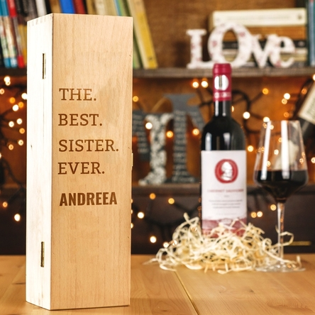 Cutie de vin personalizată - the best sister ever