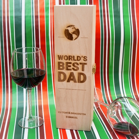 Cutie de vin personalizată - World's Best Dad
