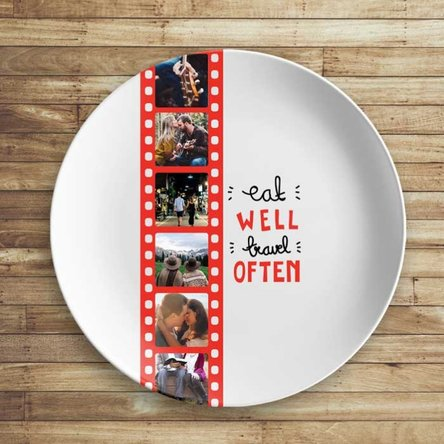 Farfurie personalizată cu 6 poze - Eat well, travel often