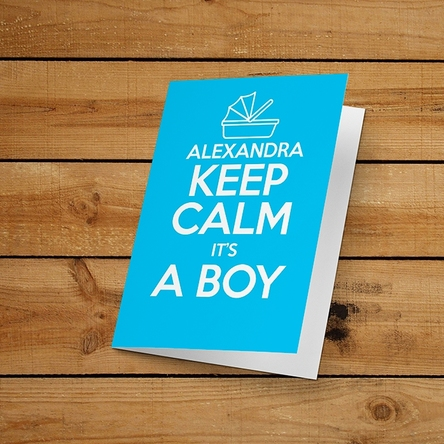 Felicitare personalizată - KEEP CALM IT'S A BOY