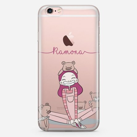 Husă silicon personalizată cu nume Iphone 8 - Girl with bears