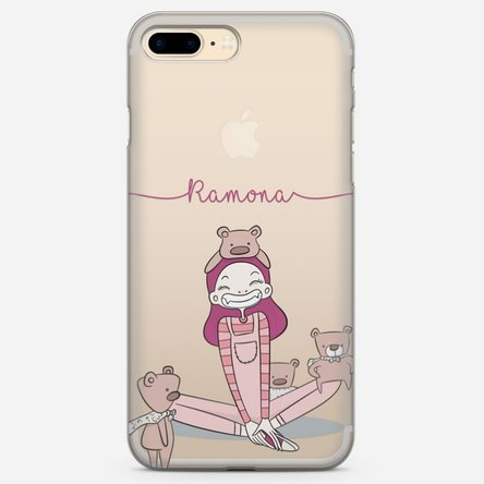 Husă silicon personalizată cu nume Iphone 8 Plus - Girl with bears