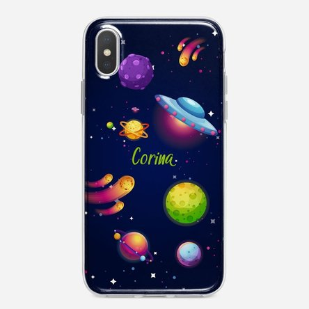 Husă silicon personalizată cu text Iphone X / XS - Cosmos