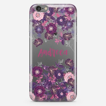 Husă silicon personalizată iPhone 6 Plus, 6s Plus - cu model floral mov