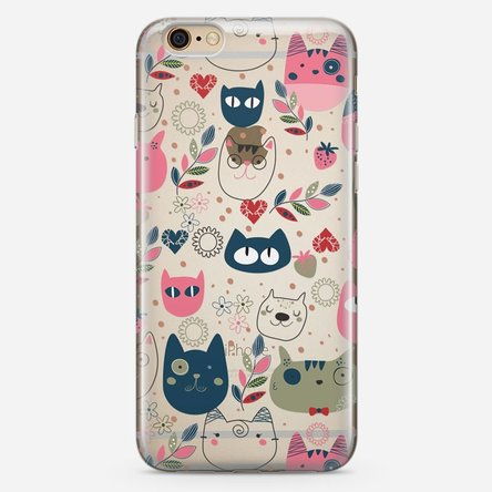 Husă silicon personalizată iPhone 6 Plus, 6s Plus - Cat doodles