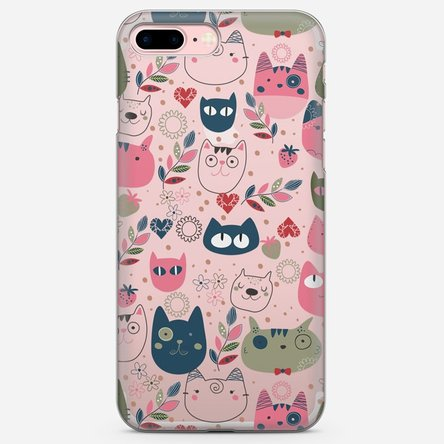 Husă silicon personalizată Iphone 8 Plus - Cat doodles