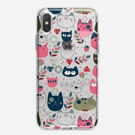Husă silicon personalizată Iphone X / XS - Cat doodles