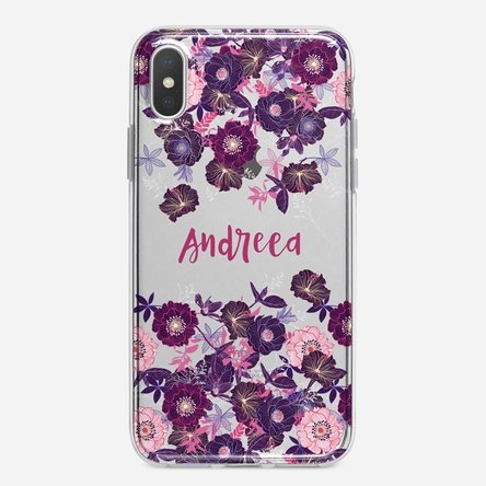 Husă silicon personalizată Iphone X / XS - cu model floral mov