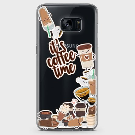 Husă silicon personalizată Samsung Galaxy S7 Edge - Coffee time