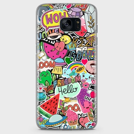 Husă silicon personalizată Samsung Galaxy S7 - Happy Stickers