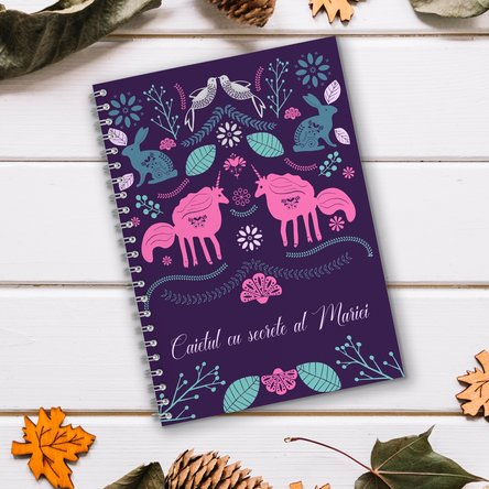 Notebook personalizat cu text - Unicorns land