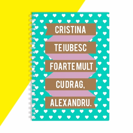 Notebook personalizat - Ribbon & Hearts