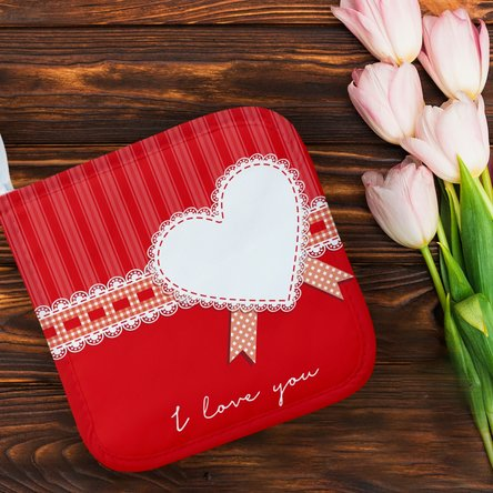 Suport oală fierbinte personalizat cu text - I love you